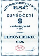 Osvědčení o spolkovém členství v ESČ 11.10.2006